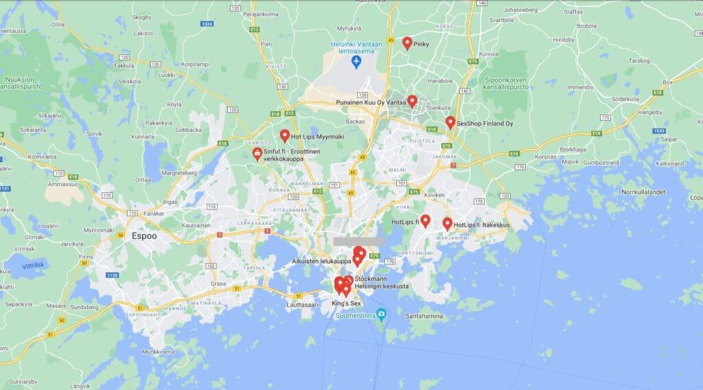 Seksikauppa Helsinki map