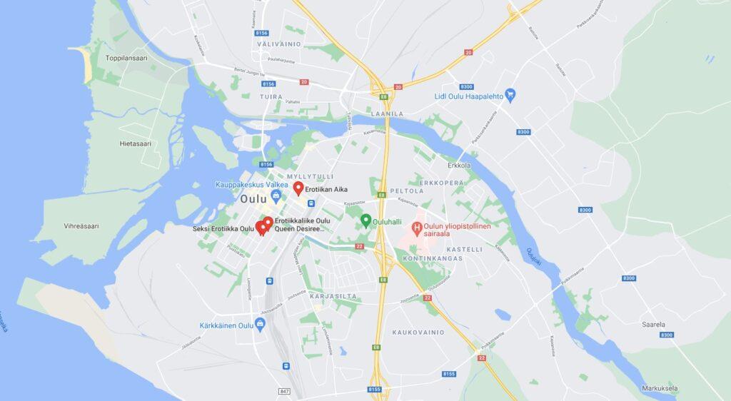 Oulu Seksikauppa Map
