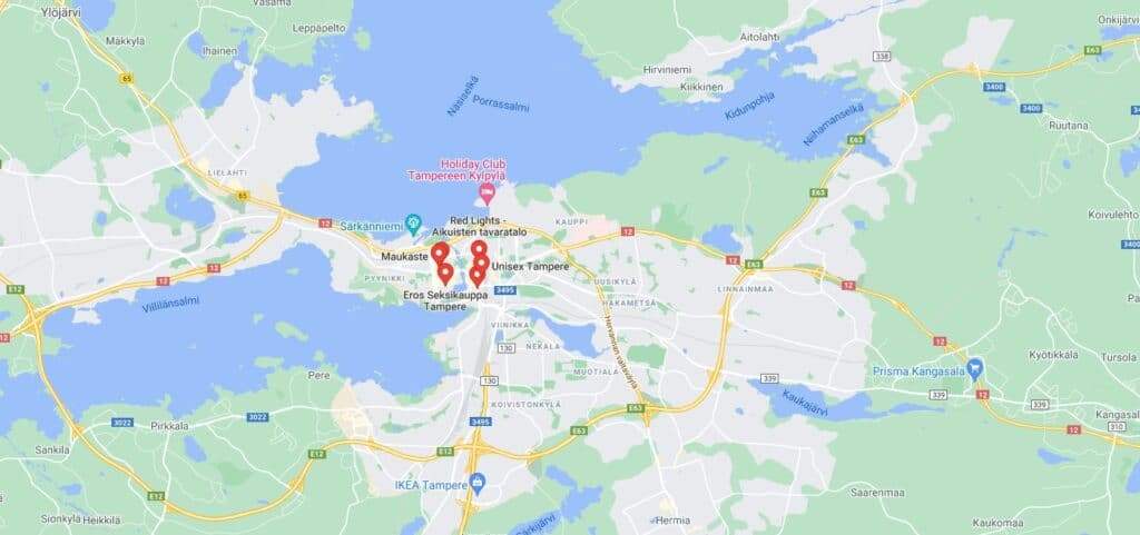 Seksikauppa Tampere Map